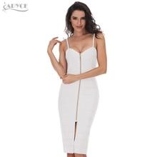 ADYCE 2018 New Wine Red Black White Apricot Spaghetti Strap Bodycon Party Dress Sexy V-Neck Celebrity Bandage Dress Wholesale