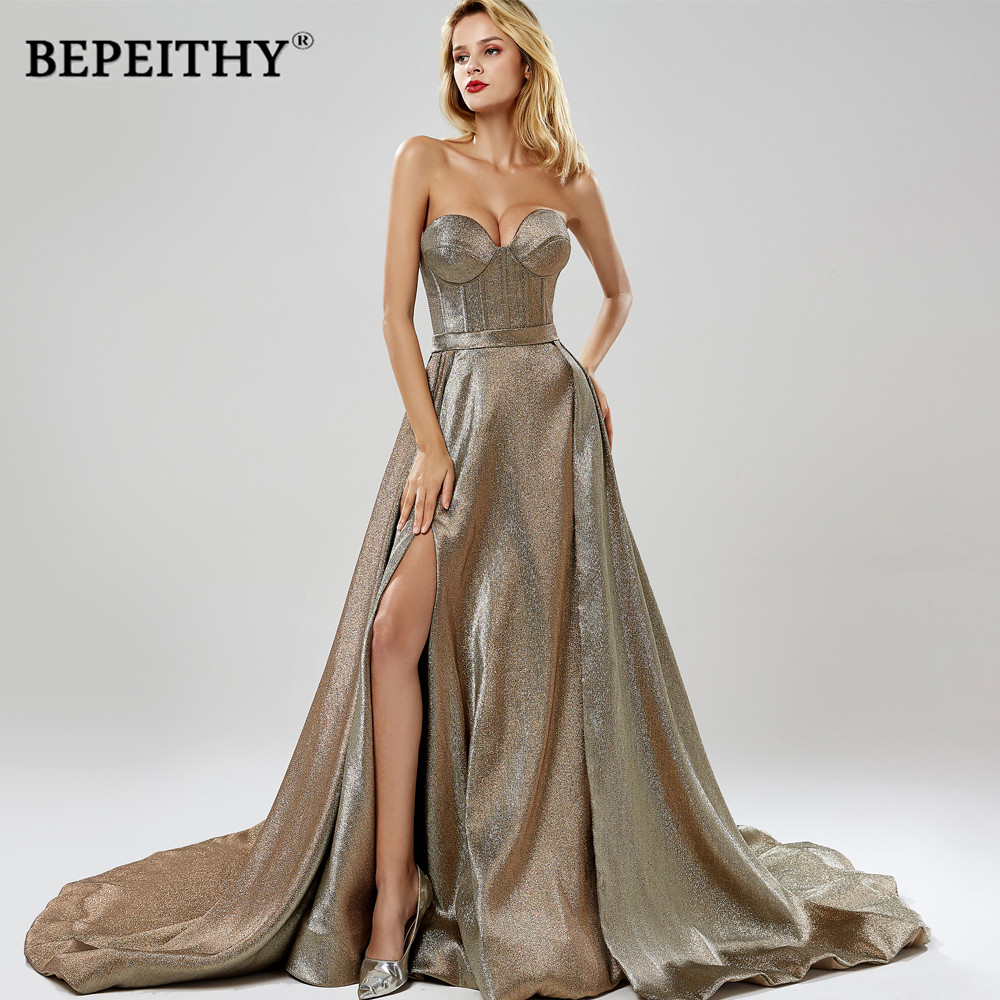 BEPEITHY Elegant Evening Dress Party 2019 Sweetheart Glitter Fabric Sexy High Slit Prom Dresses Vestido De Festa