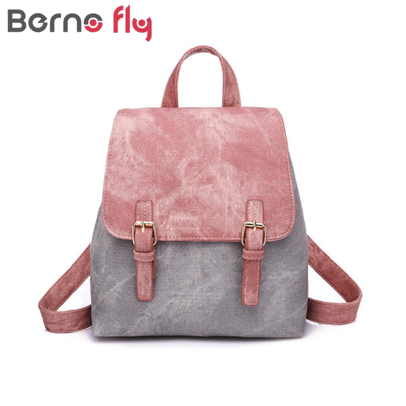 Berno fly Brand Women Backpacks Fashion Small School Bags for Girls Black  Cross Pattern PU Leather acd96c6e0b3a4