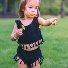 2Pcs/Set Summer Baby Girls Casual Sleeveless Strap T-shirt Tops With Tassel+Shorts Suits Costume Set summer baby girls cloth sets polka dot print sleeveless tops shirt casual bow tie shorts suits 2pcs hot