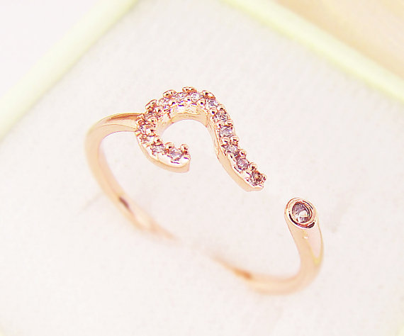 wholesale Womens Ring Jewelry Question Mark Crystal Wrap Ring Size Free Adjustable 18KGold and Silver and Rose Gold-10pcs/Lot