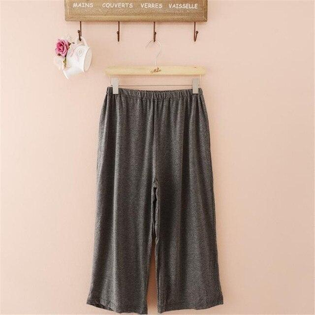 Мужчина летом тонкий мягкий краткое свободно случайные пижамные штаны эластичный пояс салон брюки капри