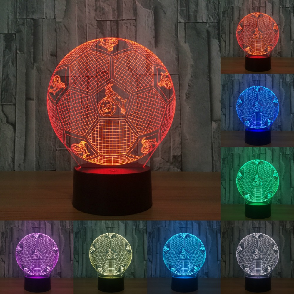 Novelty Indoor light 7 Color Changeable USB desk lamp football KOLN 3D LED Night Light touch sensor or Remote control IY803782