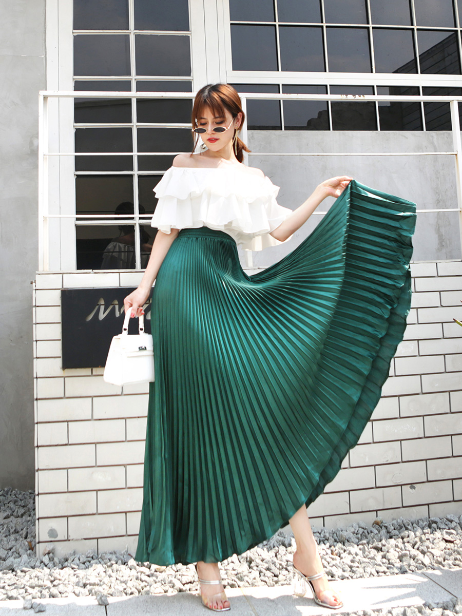 2019 Summer Fashion Vintage Silver Golden metal solid flared  Maxi Skirt High Waist Beach Long Pleated Skirts for Women Ladies iPhone