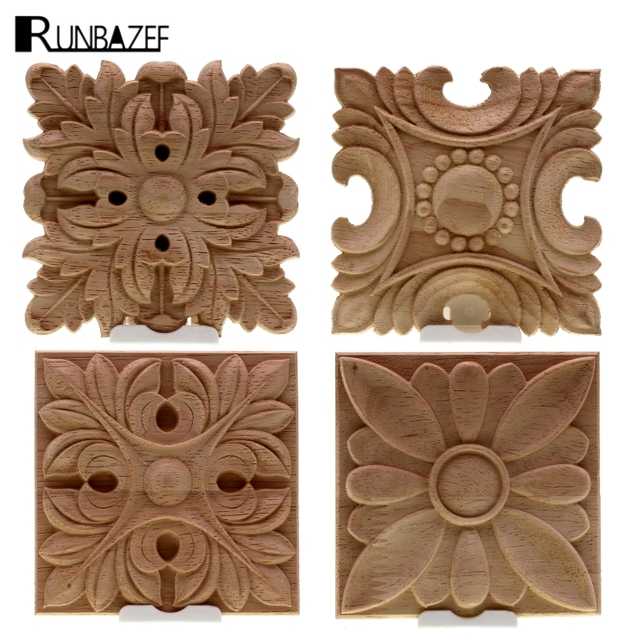 RUNBAZEF Vintage Unpainted Wood Carved Decal Corner Applique Frame For Home  Wall Cabinet Door Decorative Wooden