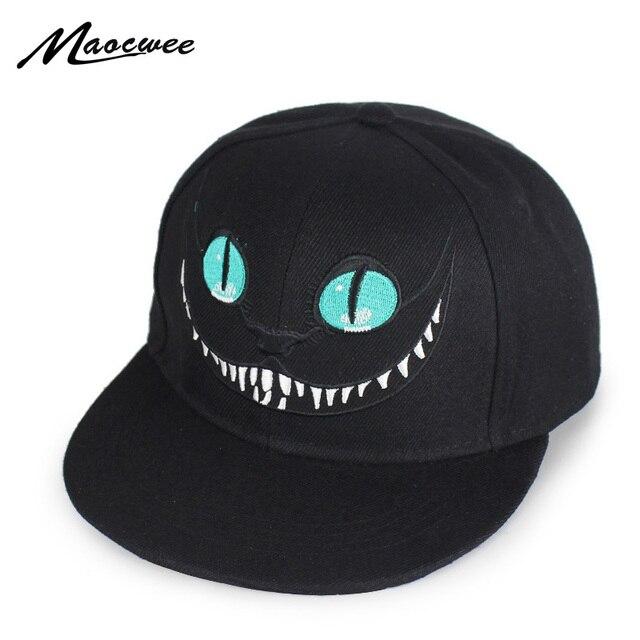 Alice País Das Maravilhas de Beisebol Caricatura Cheshire Cat Tampas  Monstro Bordado Olho Dentes Snapback Hip ffe2cf4f140