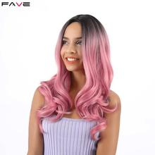 FAVE Synthetic Wigs Long Ombre Black Pink Brown Blonde Hair High Density Temperature Wavy Cosplay For Black White Women wave long brown blonde synthetic wigs for black white women high temperature cosplay hair wigs 2pcs wig cap 280477