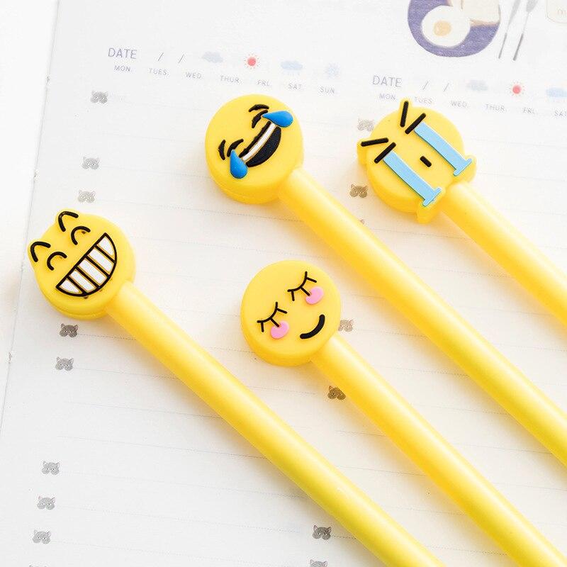 4pcs/set Cute Expression Gel Pens Cartoon Smiley Face Pen Kawaii