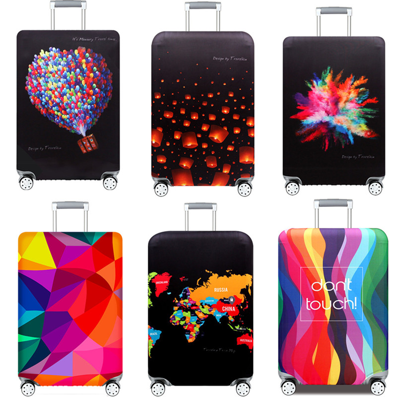 3D Printing Elastic Luggage Protective Cover Women Men Thicker Dust Rain Bags Trunk Case Travel Suitcase Accessories Tag Straps