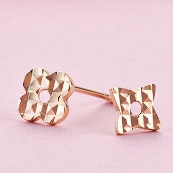 VOJEFEN 18K Rose Gold Star and Flower Stud Earrings for Women and Men Gold Asymmetry Earrings Flower Star CZ Small Earrings 3
