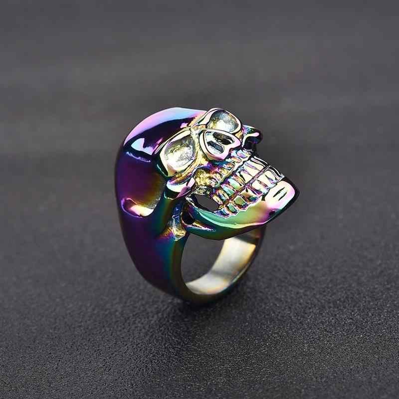 Jiayiqi Винтаж Красочные Череп кольцо для мужчин ювелирные изделия кольцо из нержавеющей стали 316L панк готический мода байкер Мужские Вечерние