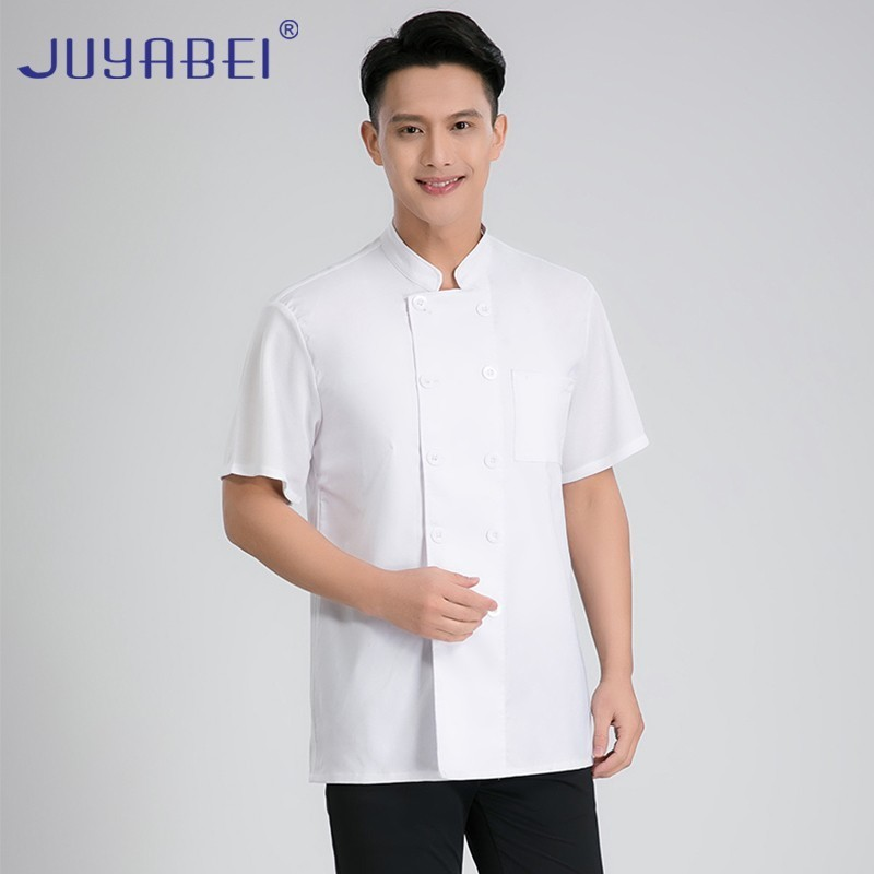 Unisex Short Sleeve Chef Cooking Jacket Summer Food Service Restaurant Chef Uniform Hairdressers Salon Shirt Free Scarf Gift