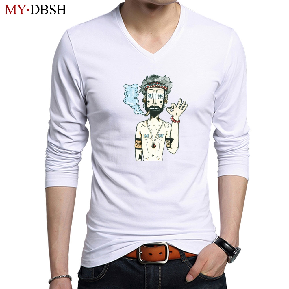 High Quality Mens Cotton Fitness Long Sleeve T-Shirts New Style Spring Summer Mens Funny Printed Solid Color Tees Shirt S~5XL
