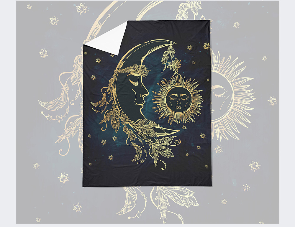 Home Textile Lunar Face Moon Light Bedding Set Golden Comforter Cover Set Twin Full Queen King Size Bed Linens Set