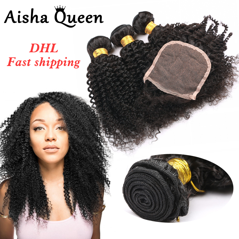 Aisha Queen Brazilian Kinky Curly 3 Bundles with 4x4 Lace Closure 100% Human Hair Natural Black Remy Hair Extensions ...