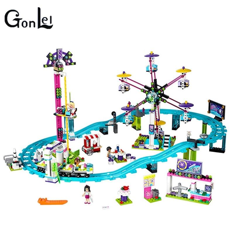 все цены на (GonLeI) 01008 1024pcs building blocks Girl Friends Amusement Park Roller Coaster figure toys for children онлайн