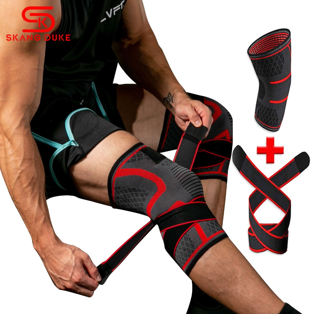 1PC 3D Compression Adjustable Knee Pads Brace Support Gym Pain Relief Knee Sleeve Pressurized Running Sports Knee Protector