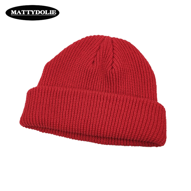 86d3fdacaf8 MATTYDOLIE Knit Cap Solid Color Autumn Winter Hat Men Short Head Cap  Outdoor Warm Melon Cap