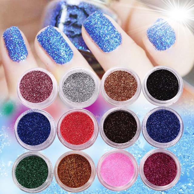 12 PCS Mix Color Glitter Dust Powder Set for Nail Art Acrylic Tips ...