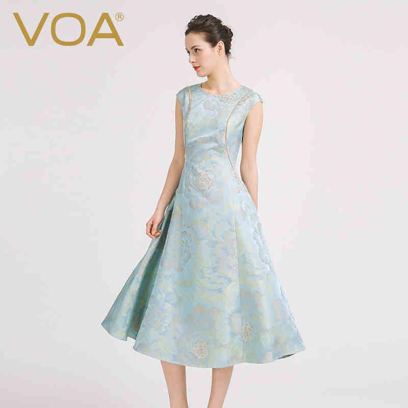 VOA 2017 Summer Silk Jacquard Vintage Embroidered Women Dress Fashion Plus Size Slim Silver Grey Luxury A line Dress A6916