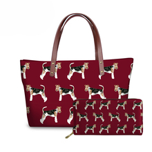 NOISYDESIGNS Hand Bags for Women Fox Terrier Printing Shoulder Tote Bag Ladies Fashion Handbags Females Top-Handle Travel