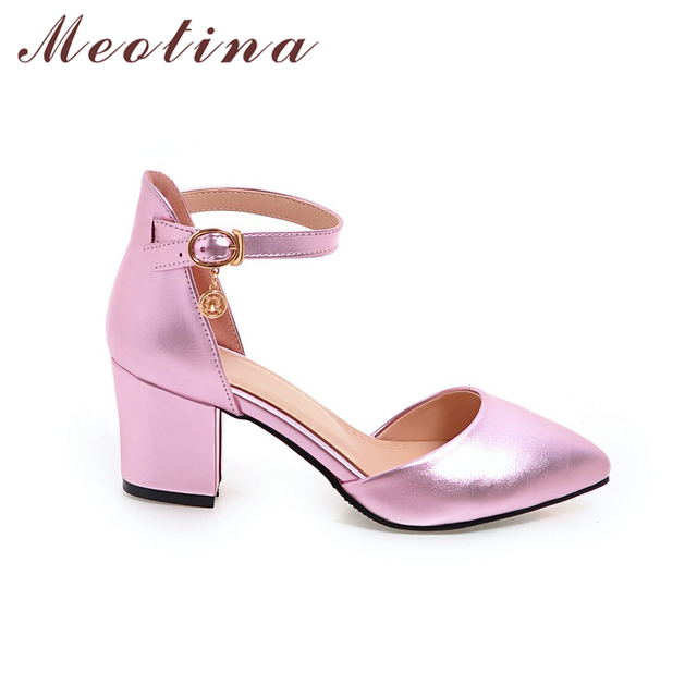 Meotina Shoes Woman 2017 New High Heels Spring Ladies Pumps Summer Two Piece Thick Heels Footwear Ankle Strap Shoes Sliver 34-43
