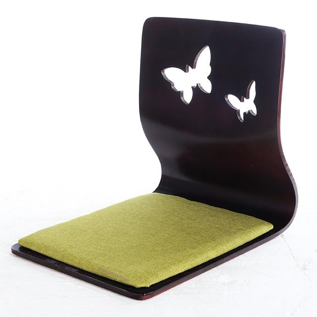 (4 pçs/lote) Zaisu Cadeira Com Almofada de Tecido Natural/Mogno/Acabamento Preto Japonês Tatami Sem Pernas Cadeira de Chão asiático Assento Sem Pernas