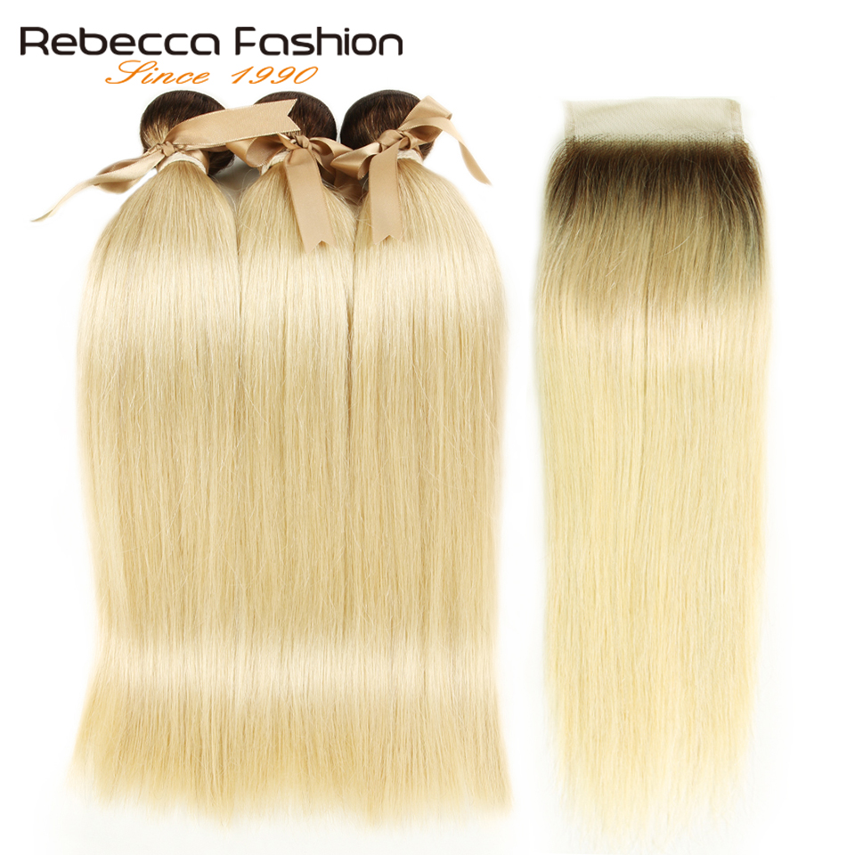 Rebecca Ombre Blonde Bundles With Closure Malaysian Straight Remy Human Hair T4/613 Honey Blonde Bundles With Closure