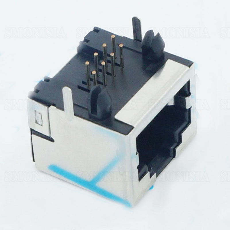 RJ45 Shield Network Socket 56 8P No Light Crystal Head Connector