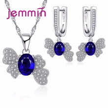 Sapphire Set 925 Sterling Silver Pendant Necklace and Dangle Earrings