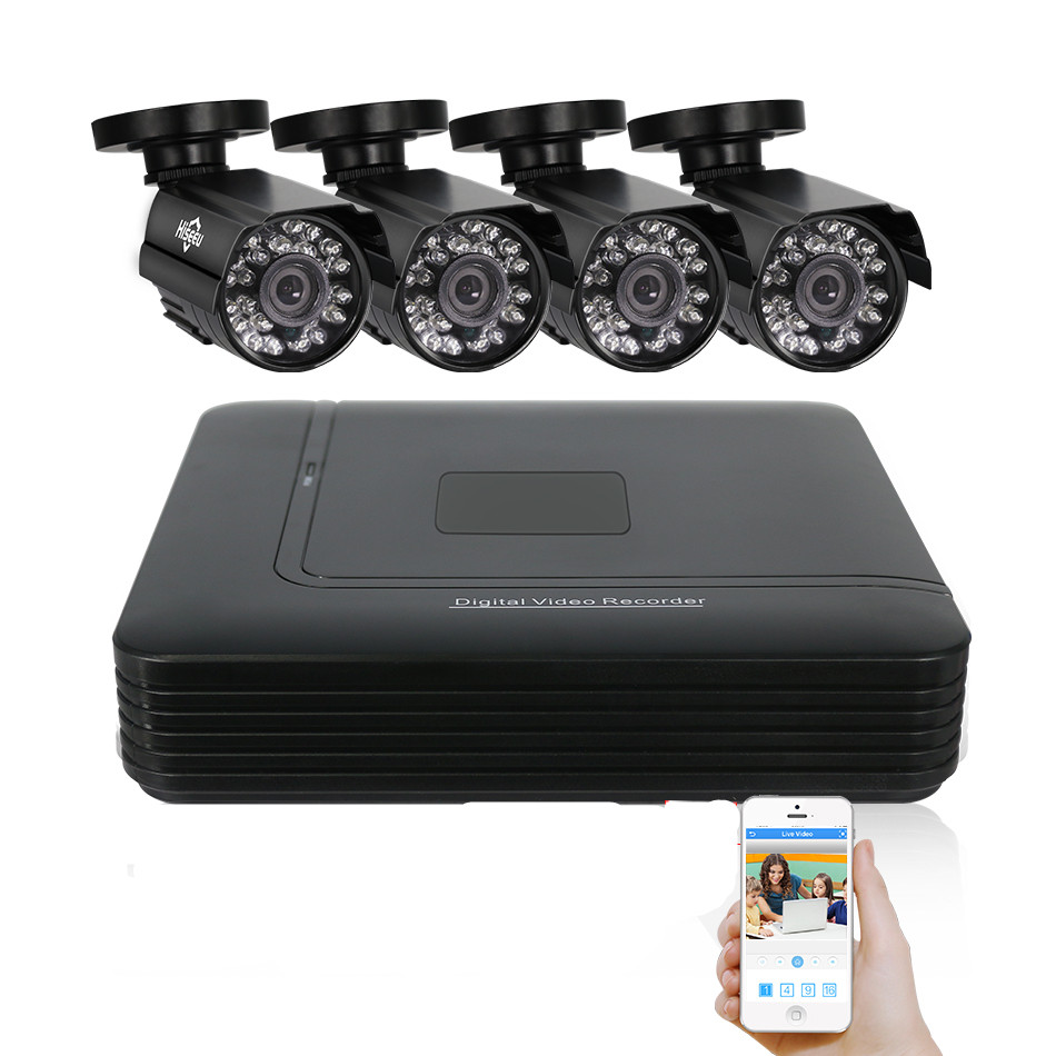 4 Channel CCTV System 4CH Mini DVR 720P IR Bullet Outdoor AHD Camera Security System Kit Camaras De Seguridad XMEYE 1200TVL 42