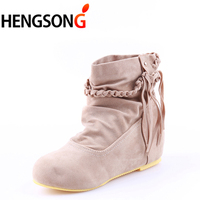 Plus Size 34 43 Autumn Flock Shoes Woman Boots Ladies Martin Boot Suede Leather Tassel Ankle