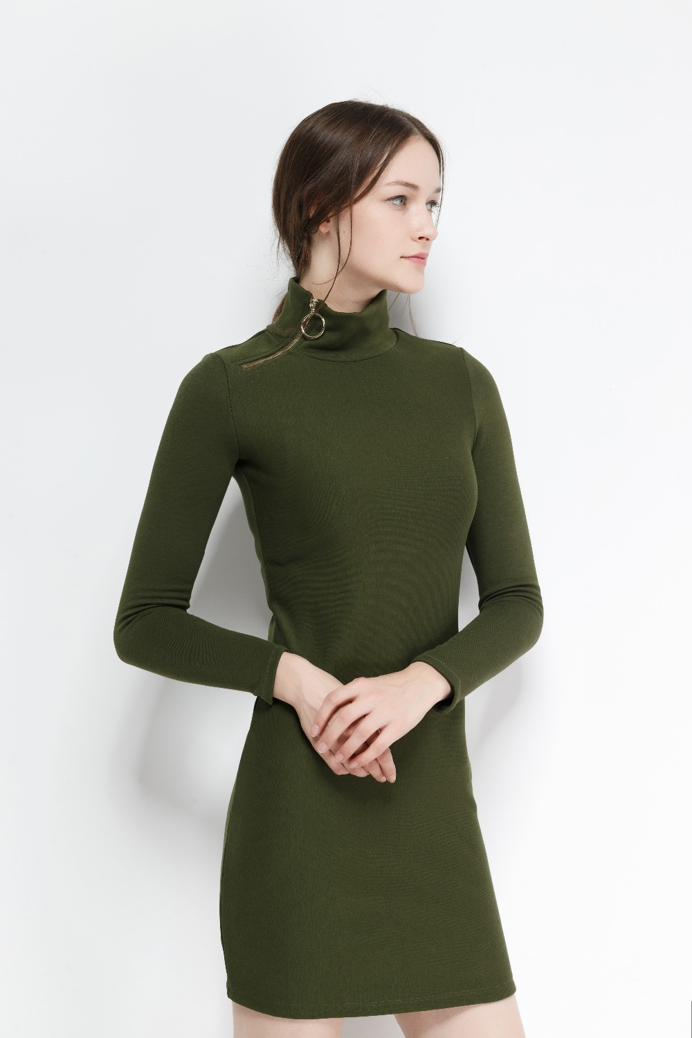 2017 autumn winter new dress Mid waist long sleeve button knitted turtleneck solid dress with zippers