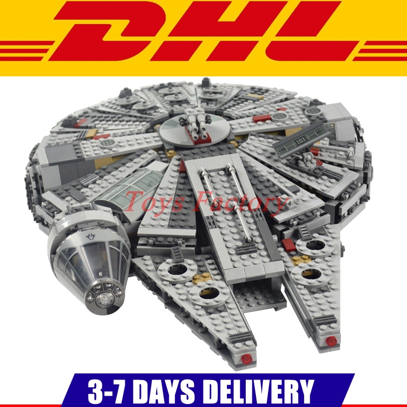 DHL IN Stock 1381PCS Lepin 05007 05142 Star Force Awakens Millennium Falcon Toy Building Kit Set Kids Toy Clone 75105 75212 building blocks star wars 05142 05007 force awakens millennium compatible 75212 75105 bricks lepin star wars millennium falcon