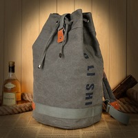 2015 Korean Version Women Retro Canvas Tactical Men S Backpacks Rope Pumping Mouth Bucket Backpack Sports