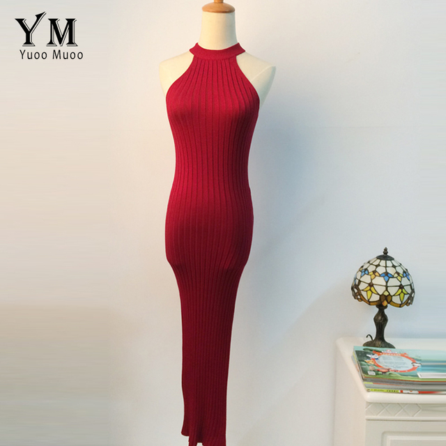 6b3d433021dc5 US $19.27 35% OFF YuooMuoo European Style Women Bodycon Dress 2018 Rayon  Sleeveless Halter Summer Midi Dress Push Up Slit Red Sexy Club Dress-in ...