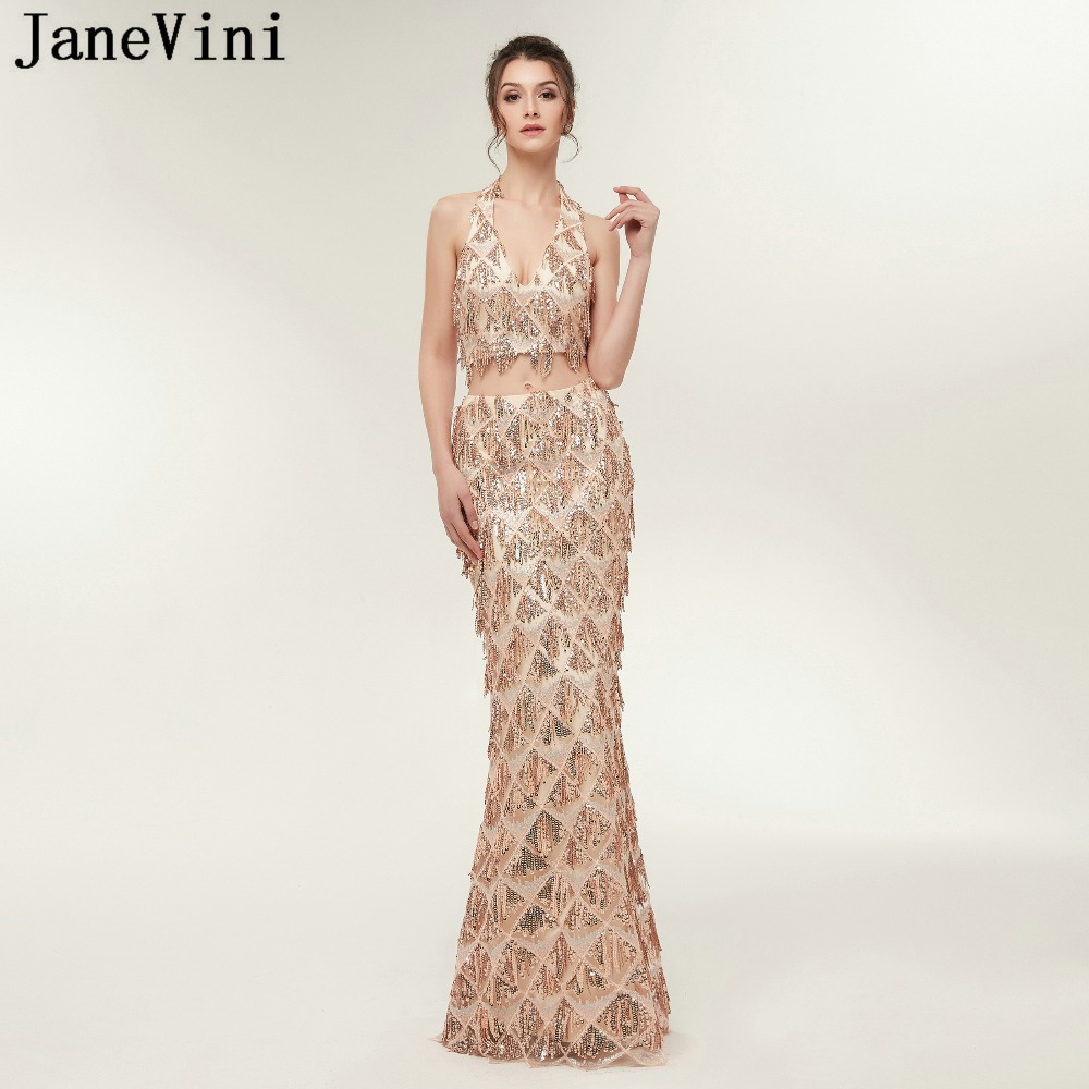 JaneVini Sparkly Sequined Tassel Two Piece Prom   Dresses   Mermaid Halter Tulle   Bridesmaid     Dress   Floor Length Formal Party Gowns