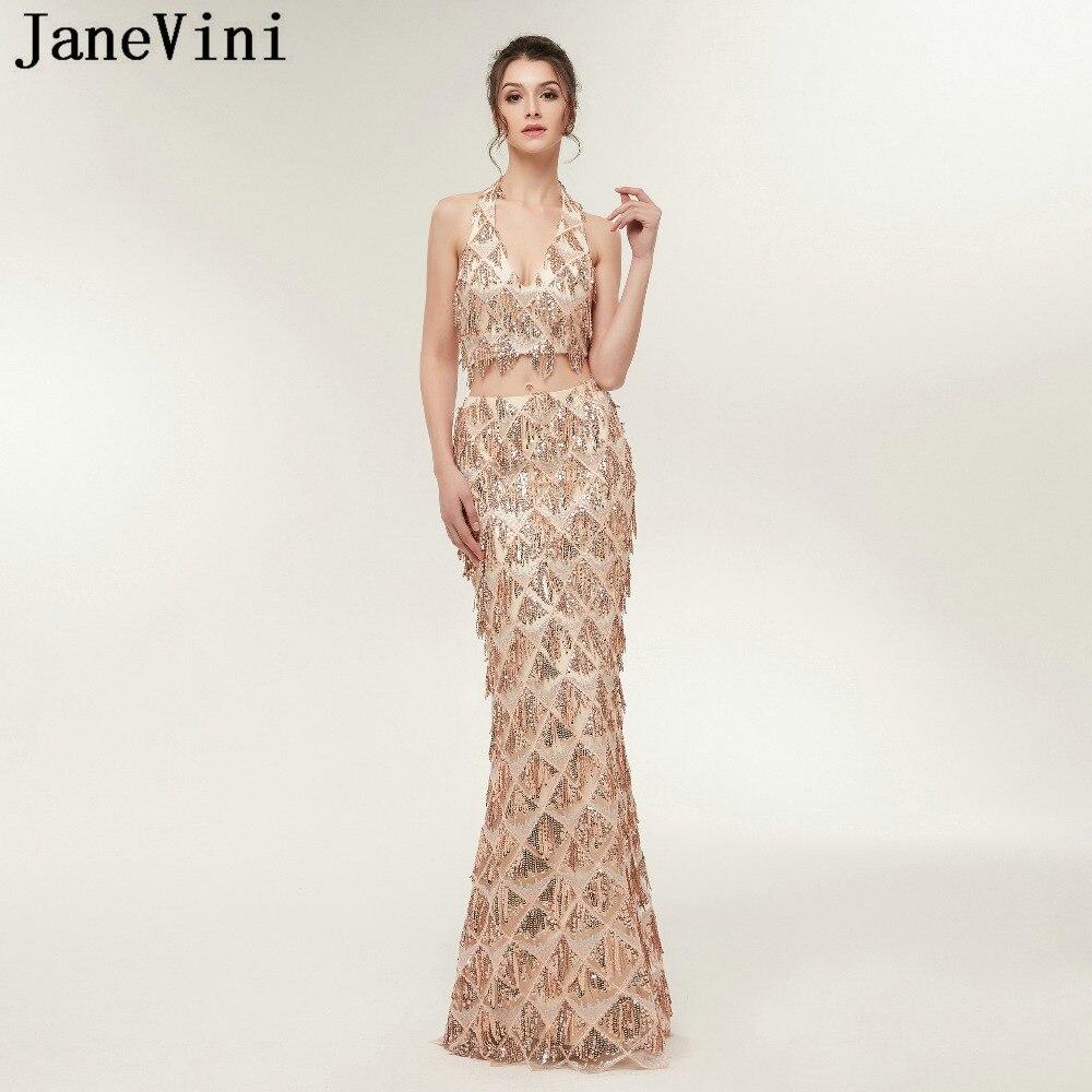 JaneVini paillettes scintillantes gland deux pièces robes de bal sirène licou Tulle robe de demoiselle d'honneur longueur de plancher robes de fête formelles