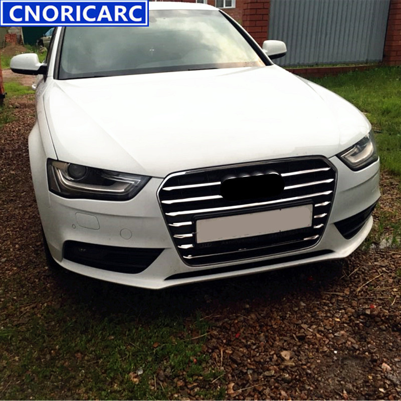 CNORICARC Front Bumper Middle Grill Grids Trim Strips Car Styling Exterior Accessories Sticker For Audi A4