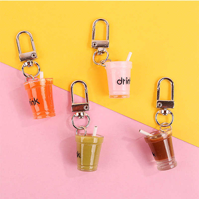 Fashion Milk Tea Drink Soda Bottle Charms Keychain Female Girls Cute Key Ring Jewelry Women Bag Car Key Chains Trinket Gift