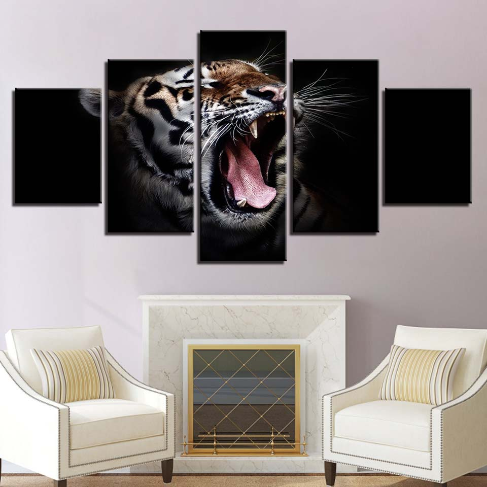 Modular Canvas Wall Art Pictures 5 Pieces Tiger Paintings
