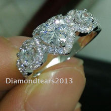 size 6-10High quality Fashion jewelry 10kt white gold filled three stone  AAA cubic zirconia woman wedding Ring gift