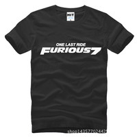 Movie Furious 7 One Last Ride Printed Mens Men T Shirt T Shirt Fashion 2015 Short