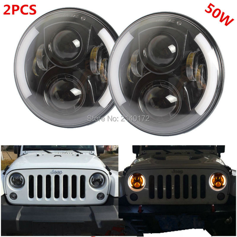 50W 7INCH Round Harley LED Headlight with White Angel eyes High beam 4500 Lumens for Jeeps Wrangler JK Harley Davidson