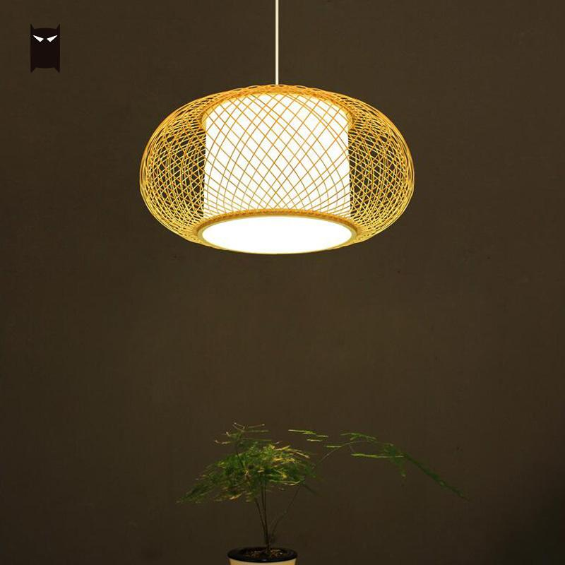 Bamboo Wicker Rattan Slender Grid Shade Pendant Light Fixture Japanese Nordic Hanging Ceiling Lamp for Dining Table Room Bulb|Pendant Lights| |  - title=