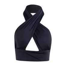 Женский топ на бретельках с перекрещивающимися передними вырезами на шее без рукавов с открытой спиной, бандажный жилет, летние сексуальные топы, женская одежда S-XL
