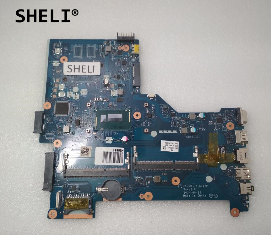 SHELI For HP 15-R 250 G3 Motherboard with i5-4210U cpu ZS050 LA-A992P 761535-501 761535-001 sheli for hp 15 15 f motherboard with e1 2100 cpu 776783 001 776783 501