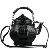 Funny Gothic Purse Teapot Shaped Crossbody Handbag Top Handle Tote Women'S Shoulder Bags