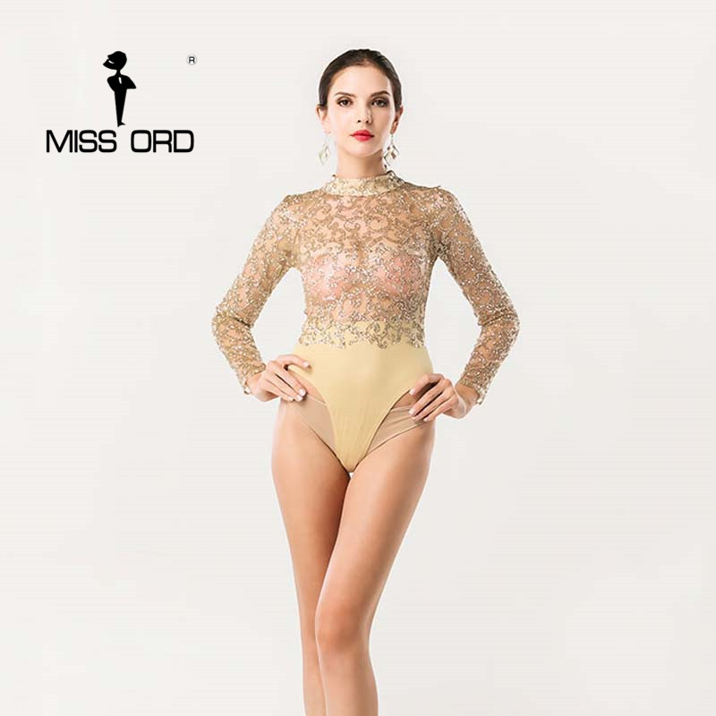 Free Shipping  Missord 2020 Sexy O-neck Long-sleeved Sequin Bodysuit Playsuit FT4384
