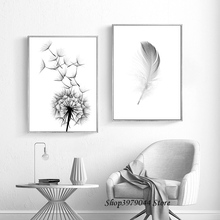 Dandelion Canvas Painting Feather Posters And Prints Wall Picture Black White Art Poster Nordic Decoration Home  Unframed